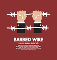 Barbed Wire With Hand vector image