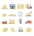 Warehouse transportation and delivery icons vector image