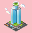 3d isometric futuristic skyscrapers background vector image