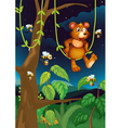 A bear and bees in the forest vector image vector image