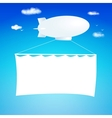 Airship cut from paper with banner vector image vector image
