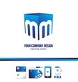 Alphabet letter M cube blue logo icon 3d vector image vector image