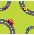 Background with roads corners and cartoon cars vector image