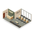 barbershop interior isometric composition vector image vector image