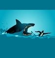 businessman swimming panicly avoiding shark vector image vector image