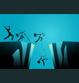 businessmen trying to jump over ravine vector image vector image
