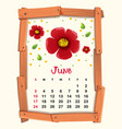 calendar template for june with red flower vector image vector image