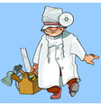 cartoon caricature health worker with tools vector image vector image