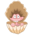 cartoon character oyster vector image vector image