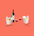 chinese food take away with wine vector image vector image