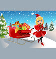 christmas girl pulling sleigh vector image vector image