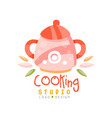 cooking school logo design kitchen emblem can be vector image vector image