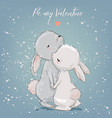 cute hares couple vector image vector image