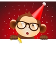 Cute monkey holding white page Christmas card vector image