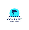 diving school logo with dolphin as symbol vector image vector image