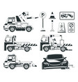 evacuator cars monochrome pictures isolated vector image