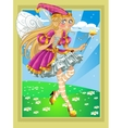 Fairy in Pink dress on fairytale landscape vector image