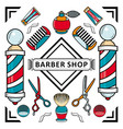 flat barber shop poster with tools icon vector image vector image