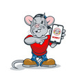funny cartoon rat with a phone in his hand showing vector image vector image