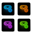 glowing neon gamepad and gear icon isolated on vector image