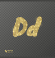 golden shiny letter d on a transparent background vector image