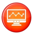 Graph in computer screen icon flat style vector image vector image