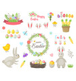happy easter flowers eggs and rabbit elements vector image vector image