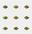 isometric way set of underground flat asphalt vector image vector image