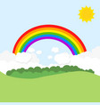 landscape with rainbow and sun vector image vector image