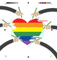 LGBT Design With Hands vector image vector image