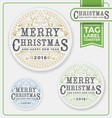 Merry Christmas Tags Label Coaster Letterpress vector image vector image