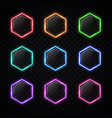 modern neon hexagon frame set on transparent vector image vector image