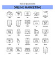 online marketing line icon set - 25 dashed vector image