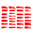 painted grunge stripes set red labels background vector image