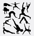 Pilates female sport silhouette vector image vector image