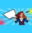 pop art cartoon comic sexy red stewardess vector image vector image