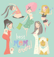 pregnant fashion set happy woman mom expecting vector image