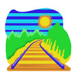 railway track going over horizon isolation vector image vector image