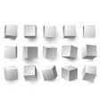 realistic 3d white cubes minimal cube shape with vector image