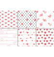 red valentine doodle heart seamless pattern vector image