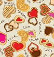 Seamless pattern of heart cookies vector image vector image