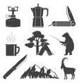set hiking and camping icons isolated on the vector image vector image
