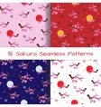 Set of Spring Seamless Patterns Blooming Sakura vector image vector image