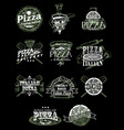 set vintage pizza emblems logos badges vector image vector image