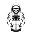 soccer hooligan skull in hoodie vector image vector image