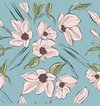 tender blush flowers on blue background pastel