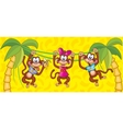 Three monkeys hanging on vines symbol 2016 vector image