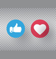 thumbs up and heart icon on transparent background vector image vector image