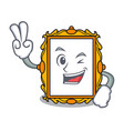 two finger picture frame character cartoon vector image