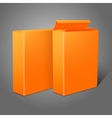 Two realistic bright orange blank paper packages vector image vector image